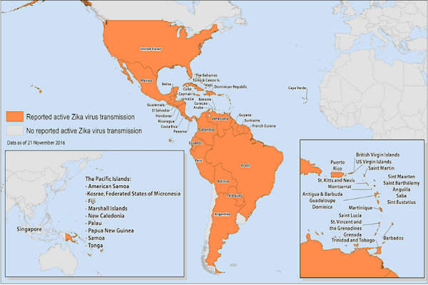 Map of North America, South America, and the Pacific Islands showing territories where the Zika virus has been reported.