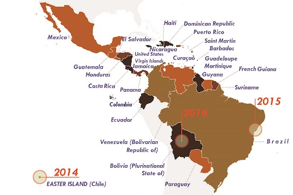 map of South America depicting the sites of Zika outbreaks in 2014, 2015, and 2016
