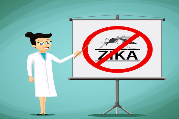 "cartoon of smiling scientist in lab coat gesturing at a picture of a mosquito and the word ""ZIKA"" with a crossed-out circle over it."