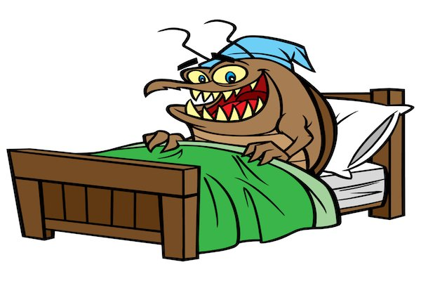 cartoon bedbug smiling in bed