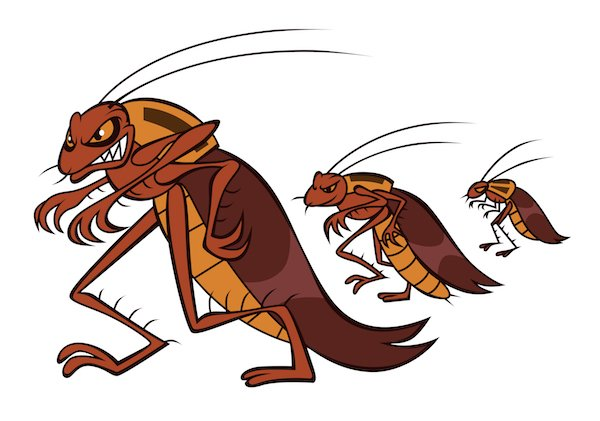 mean looking cartoon cockroaches